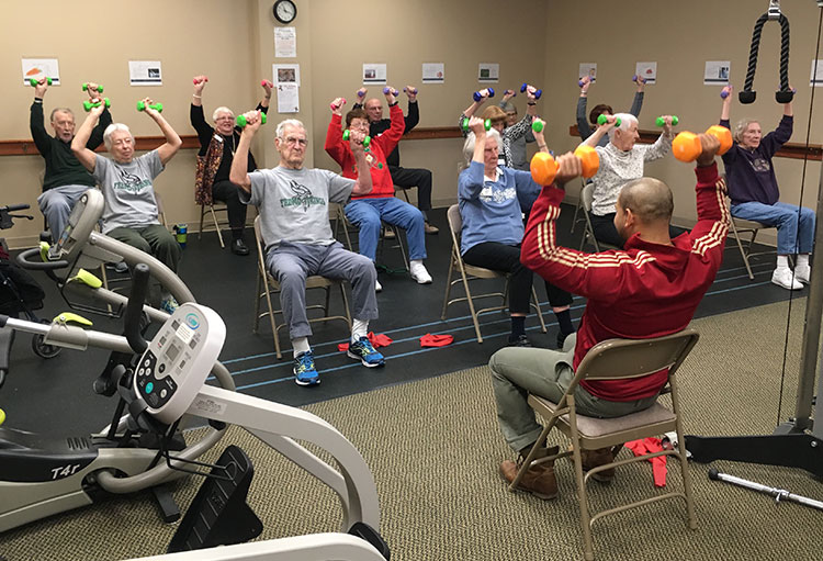 Residents fitness class